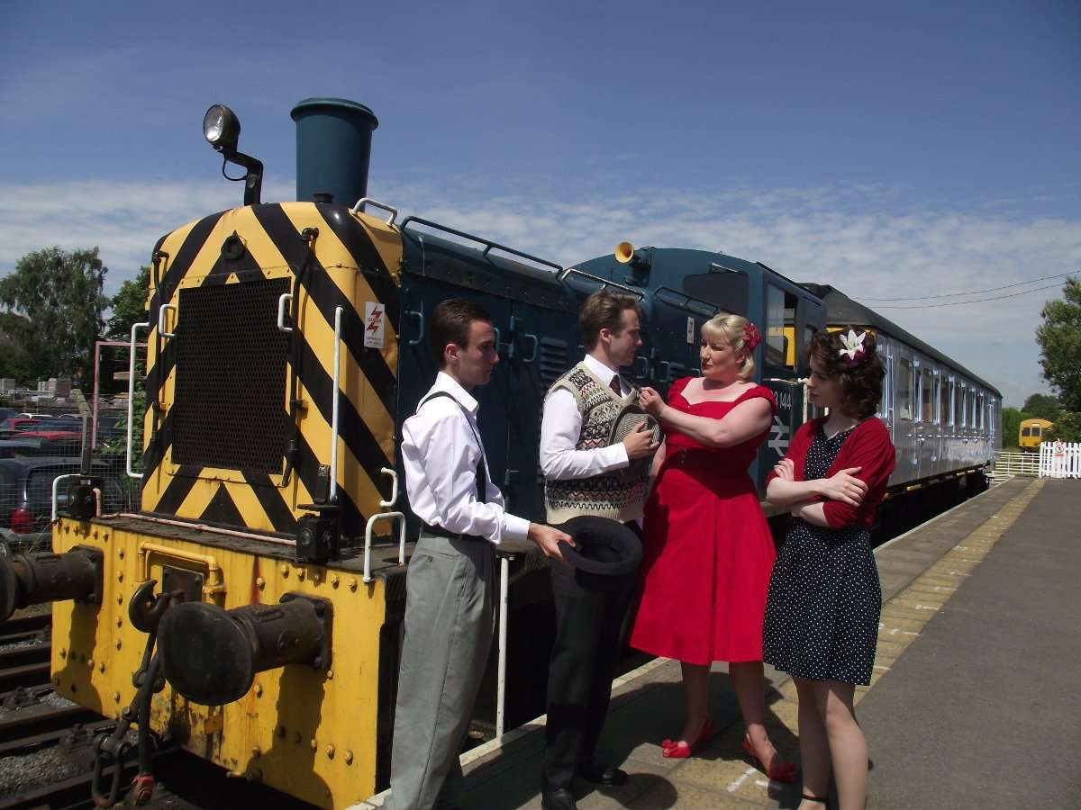 Suspects ready for a murder mystery at Wensleydale Railway