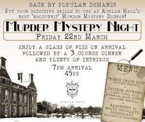 Murder mystery at Acklam Hall