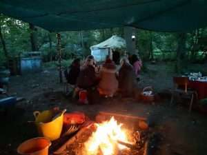Our murder mystery night in the woods around a campfire